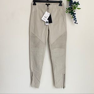 Beige moto pants with ankle zipper large NWT